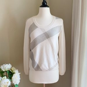 Burberry Brit Wool Cashmere Check Sweater Natural